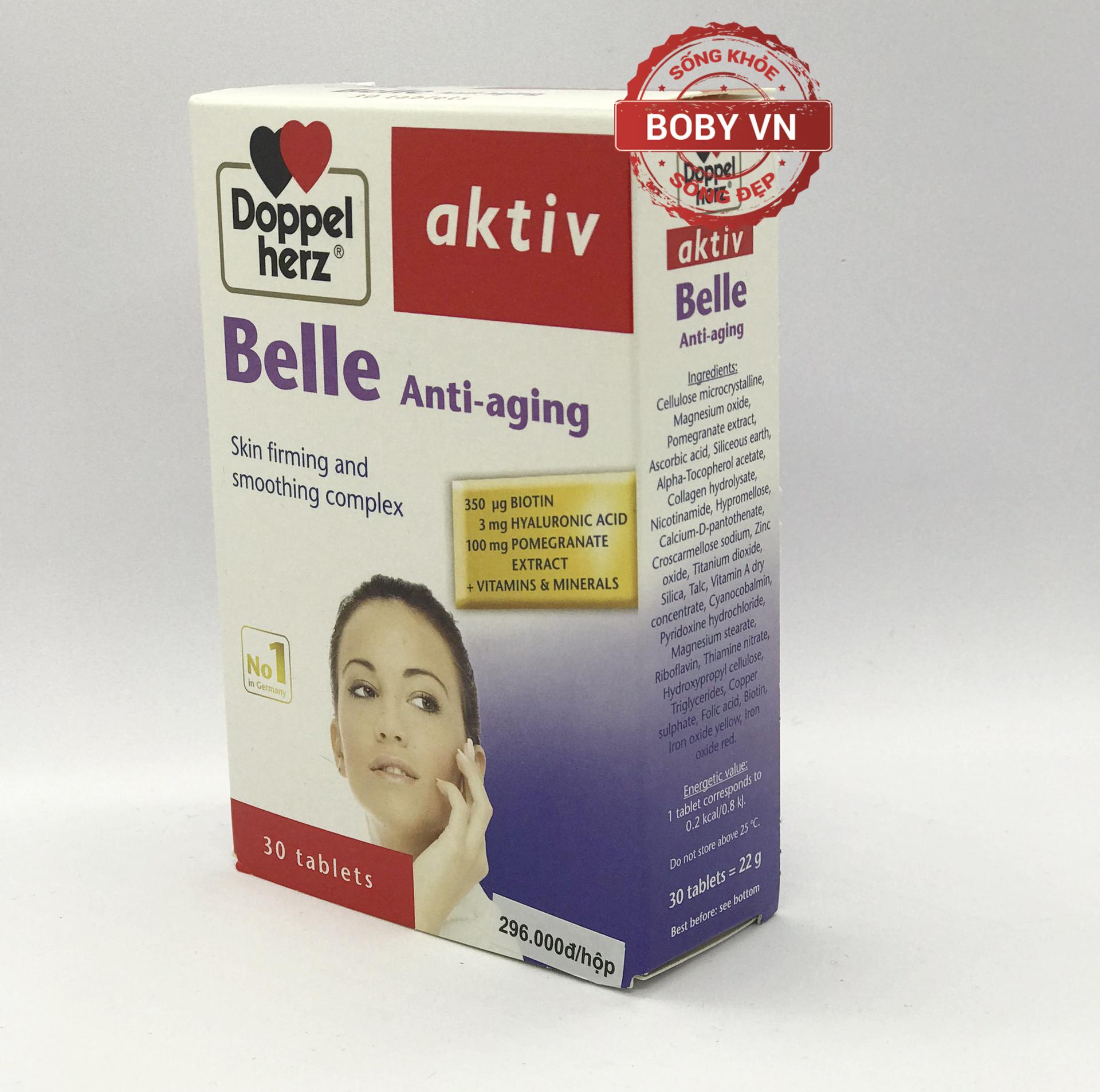 Viên uống chống lão hóa đẹp da cân bằng nội tiết tố nữ Aktiv Belle Anti Aging - Chính hãng Doppelherz Aktiv Đức