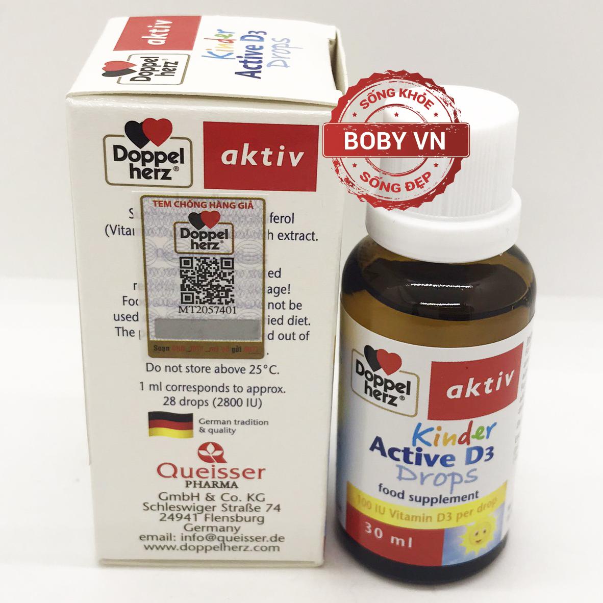 Doppel herz aktiv Kinder Active D3 Drops bổ sung vitamin D3 cho trẻ