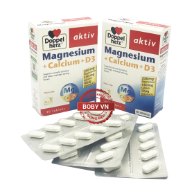 Viên uống ngăn ngừa loãng xương giúp răng chắc khỏe Aktiv Doppelherz Magnesium Calcium, vitamin D3 - Chính hãng của Đức