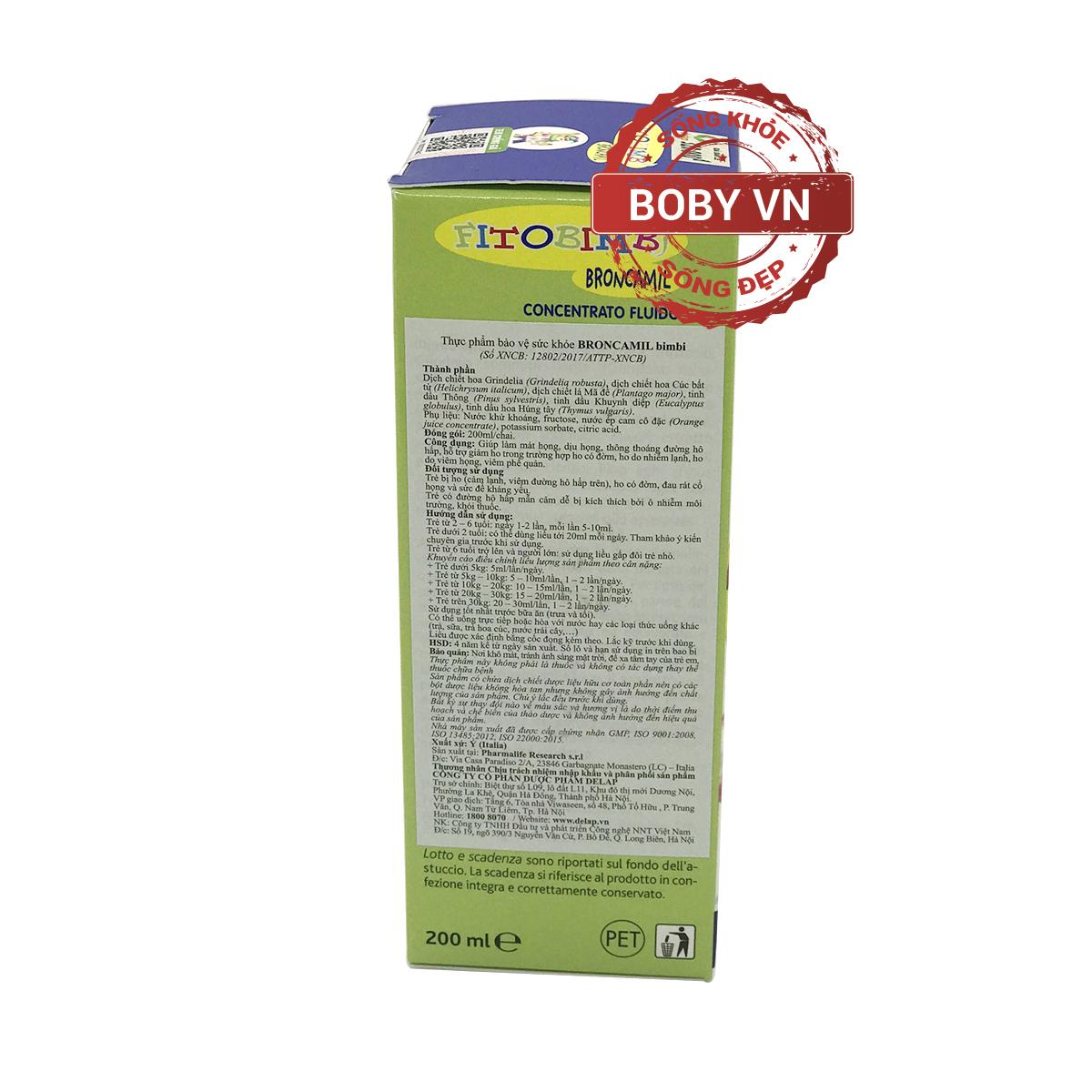 Fitobimbi Broncamil hỗ trợ giảm ho cho bé - Nhập khẩu từ Ý
