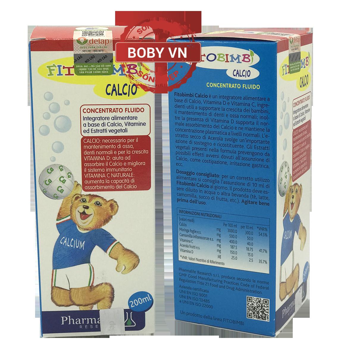 Fitobimbi Calcio Bimbi bổ sung Canxi và vitamin D cho bé - Nhập khẩu từ Ý - Chính hãng