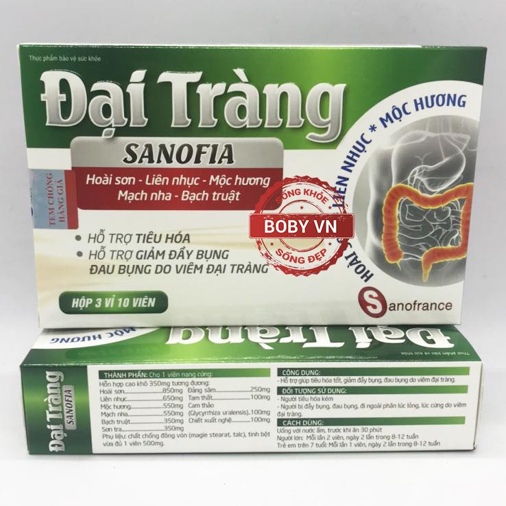 Đại tràng Sanofia hỗ trợ tiêu hóa giảm đầy bụng đau bụng do viêm đại tràng (Hộp 3 vỉ 10 viên)