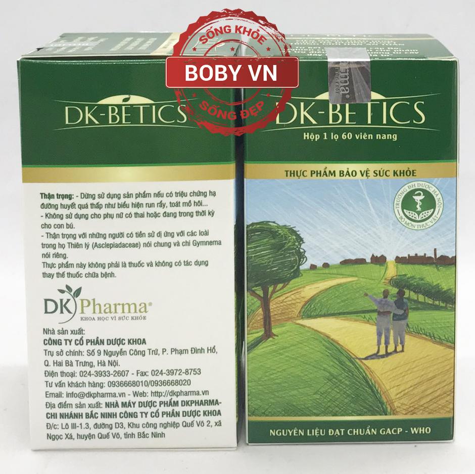 DK-BETICS hỗ trợ giảm đường huyết, hạn chế nguy cơ biến chứng của người đái tháo đường (Hộp 1 lọ 60 viên)