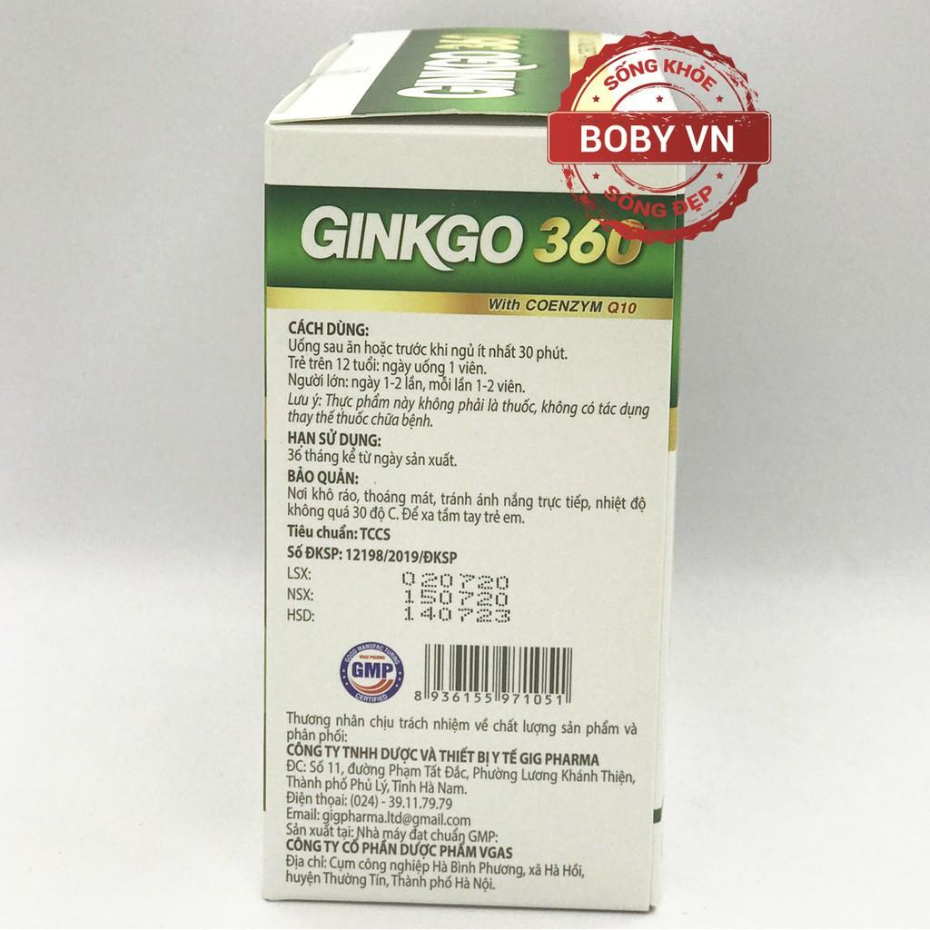 Bổ não Ginkgo 360 tăng cường tuần hoàn máu não 360mg hộp 100 viên
