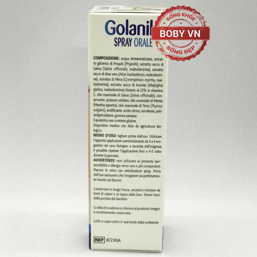 Golanil Spray Orale xịt giảm ho, giảm viêm, giảm đau rát họng cho người lớn (30ml)