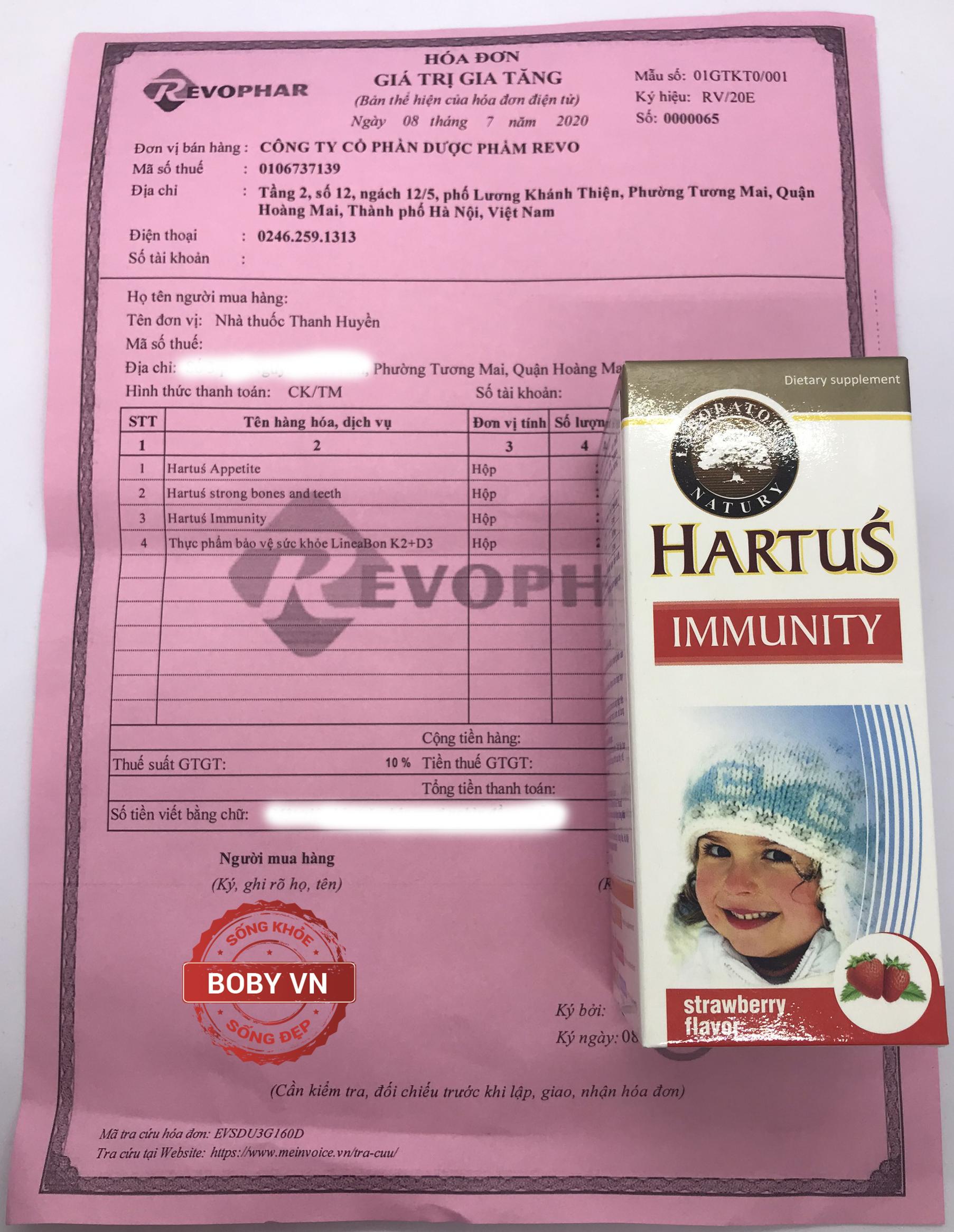 Siro Hartus Immunity tăng cường sức đề kháng cho trẻ từ 4 tháng tuổi