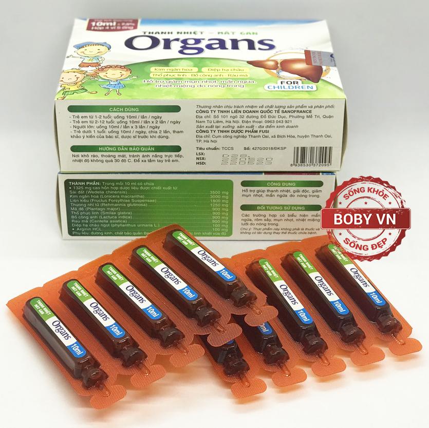 Thanh nhiệt - Mát gan Organs hỗ trợ giảm mụn nhọt, mẩn ngứa, nhiệt miệng do nóng trong (Hộp 4 vỉ 5 ống)