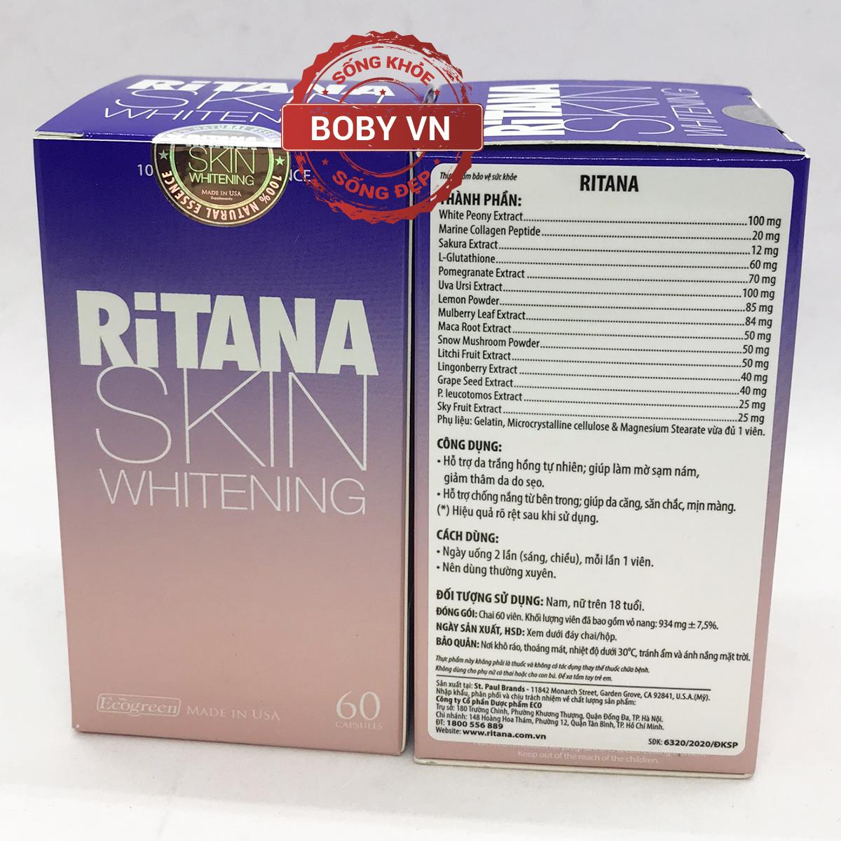 Ritana hỗ trợ da trắng hồng tự nhiên, giúp làm mờ sạm nám, giảm thâm da do sẹo - Hàng USA