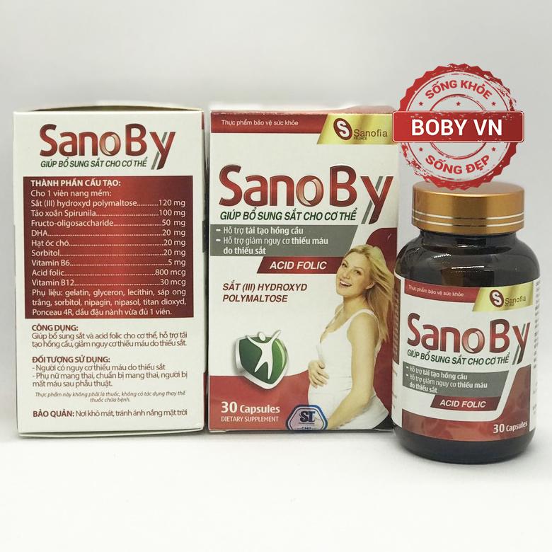 Sano By bổ sung sắt và acid folic mẹ bầu - Chính hãng  (Hộp 30 viên)