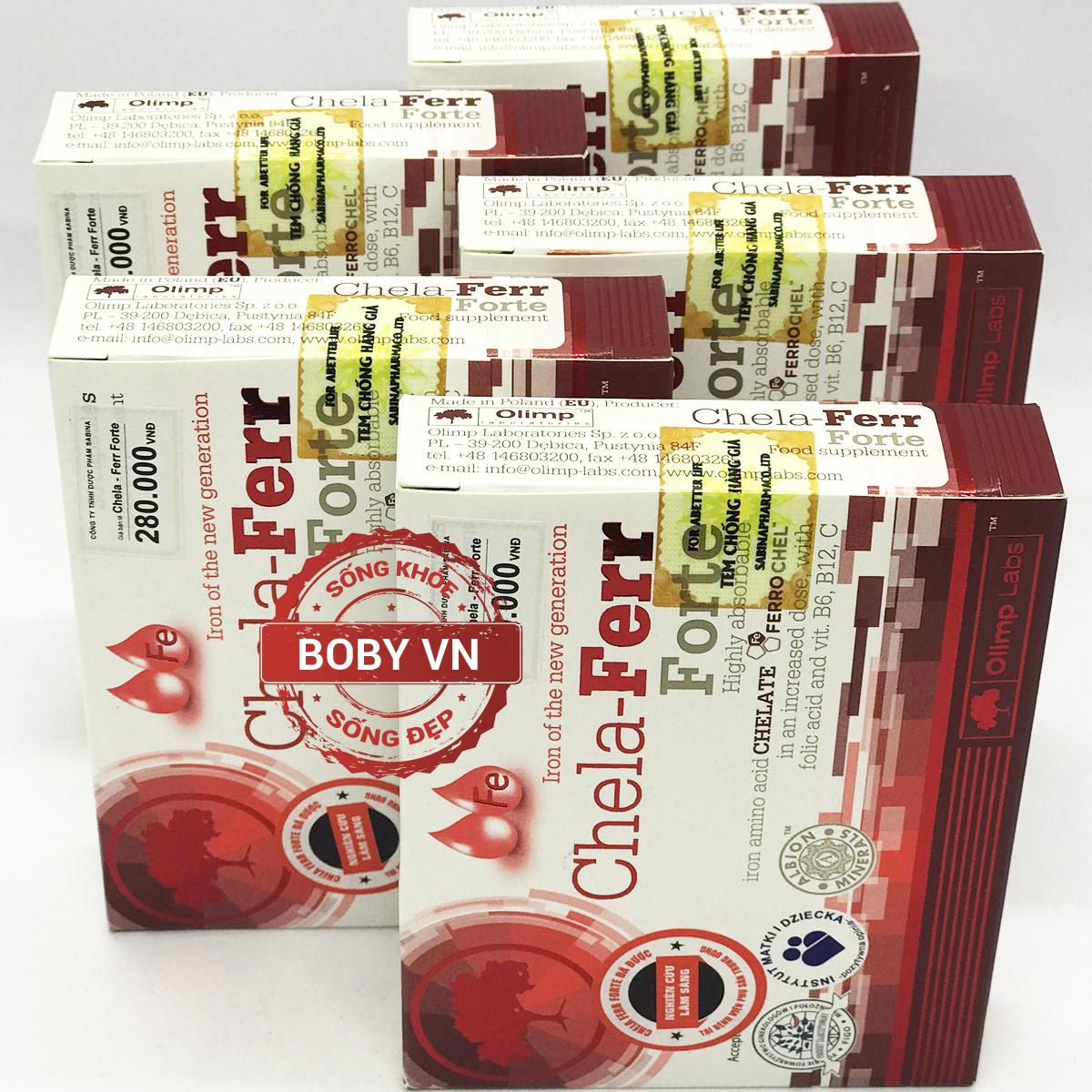 Chela Ferr® Forte sắt cho bà bầu hỗ trợ cải thiện thiếu máu do thiếu sắt