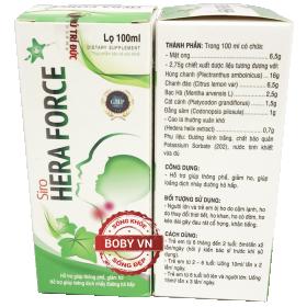 Siro Hera force hỗ trợ giúp thông phế, giảm ho, giúp loãng dịch nhày đường hô hấp - Lọ 100ml