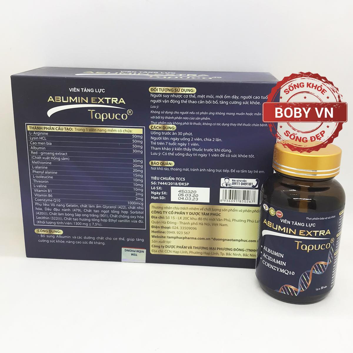 Viên tăng lực Abumin Extra Tapuco nâng cao sức đề kháng, tăng cường sinh lực