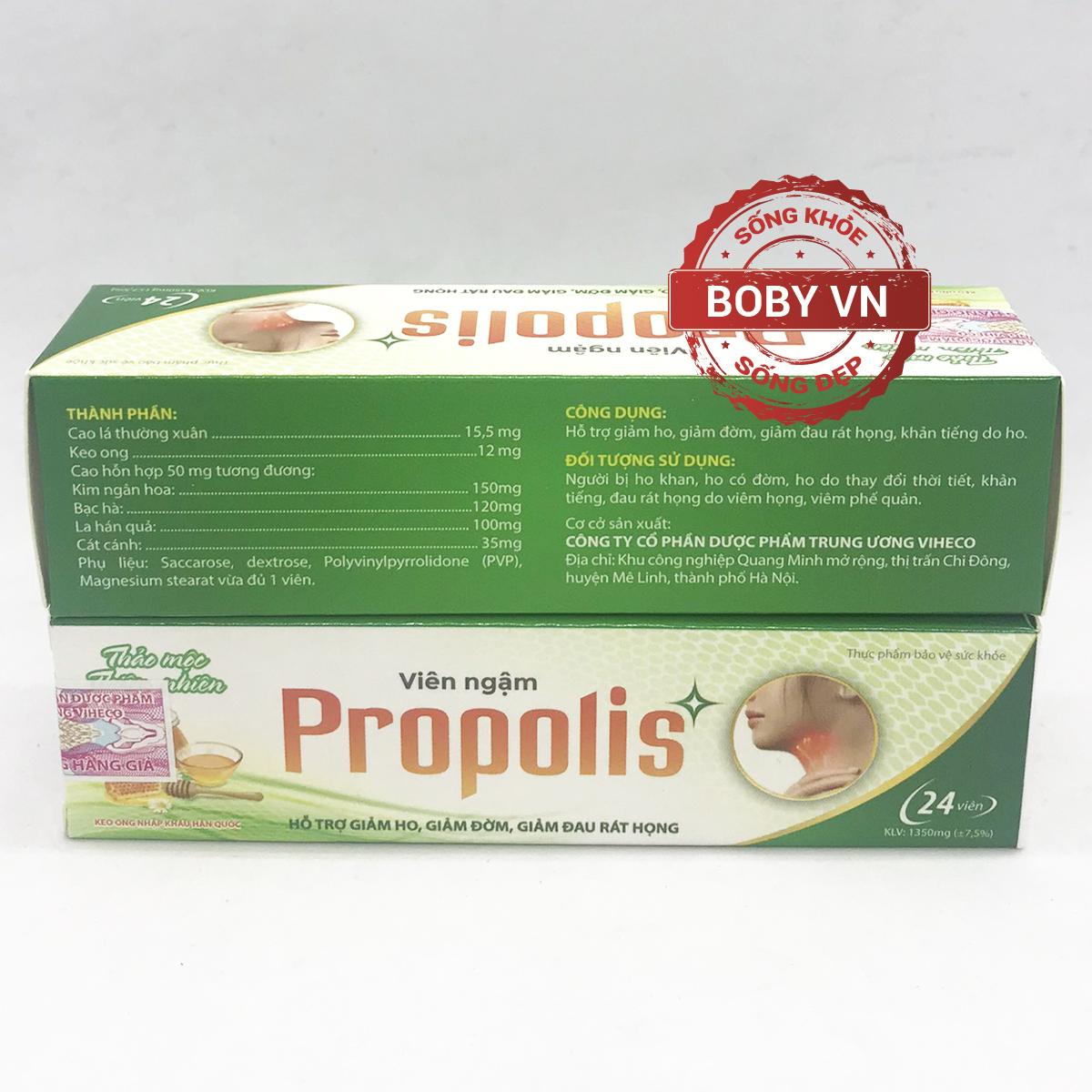 Viên ngậm giảm ho Propolis - Hỗ trợ giảm ho, giảm đờm, giảm đau rát họng (Hộp 24 viên)