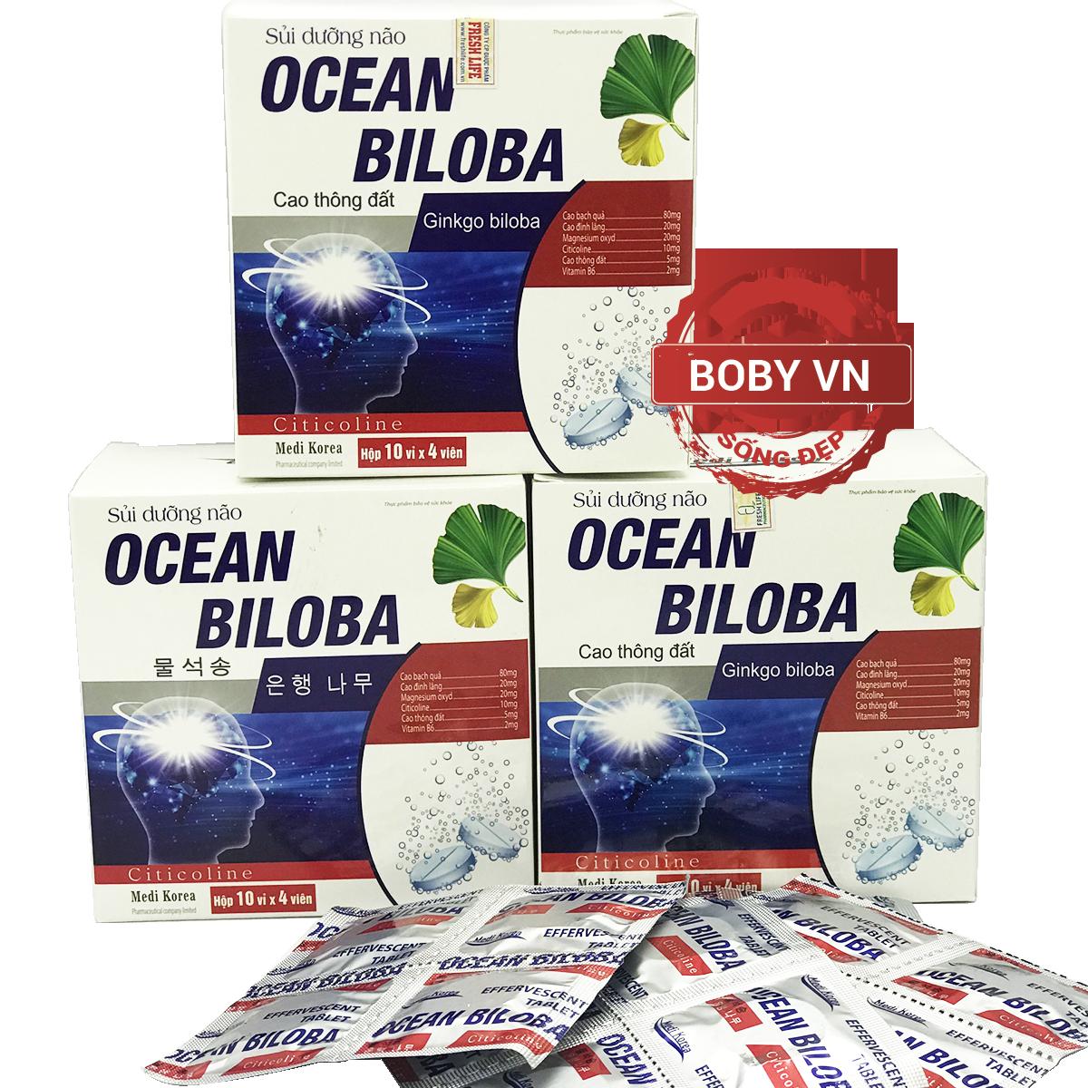 Viên sủi hoạt huyết dưỡng não Ocean Biloba tăng cường tuần hoàn não - Chính hãng