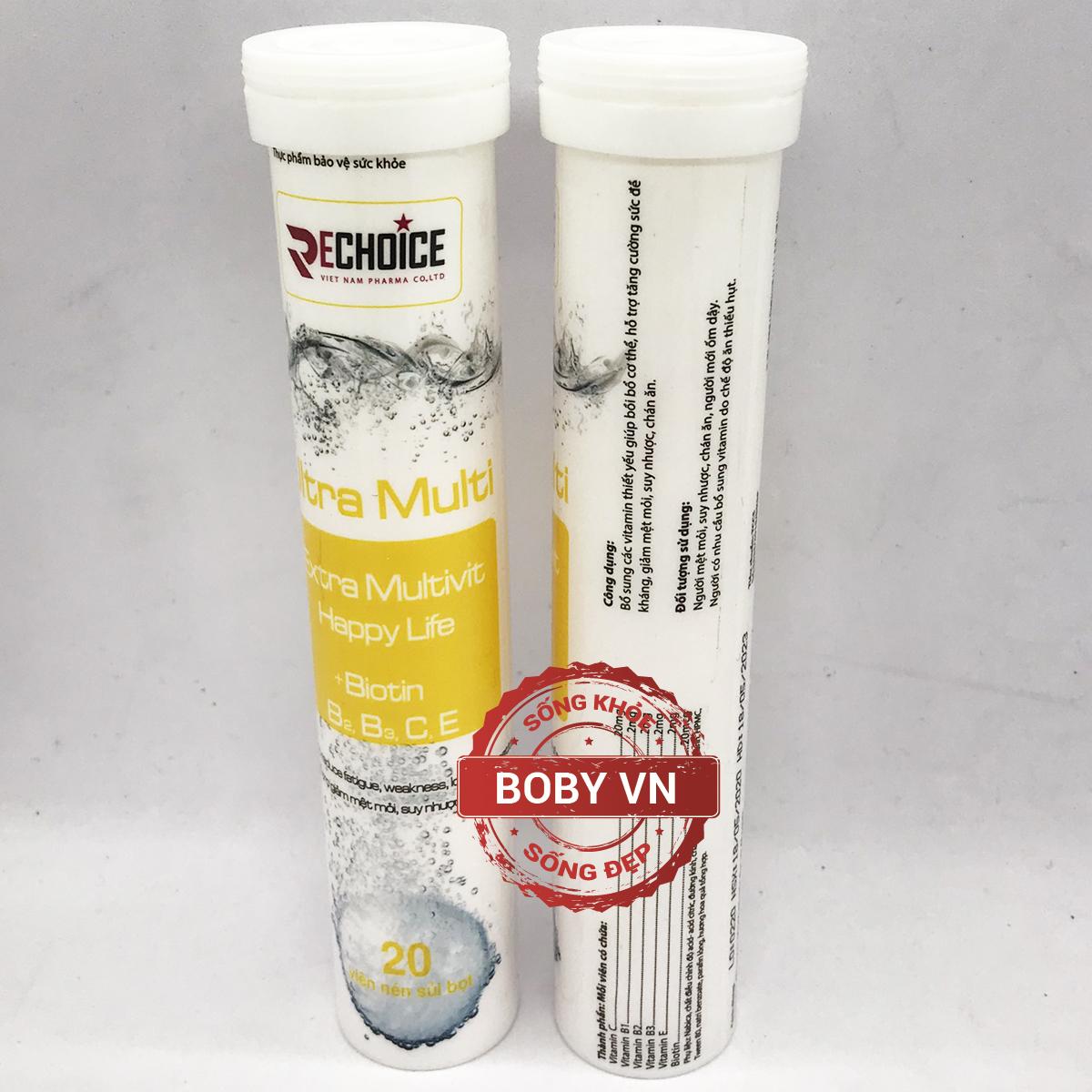Tuýt C sủi Ultra Multi Extra Multivit Happy Life Rechoice bổ sung Biotin, vitamin C, E, B2, B3