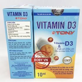 Vitamin D3 Tony giúp bổ sung vitamin D3 và DHA cho bé, giảm nguy cơ còi xương, chậm lớn