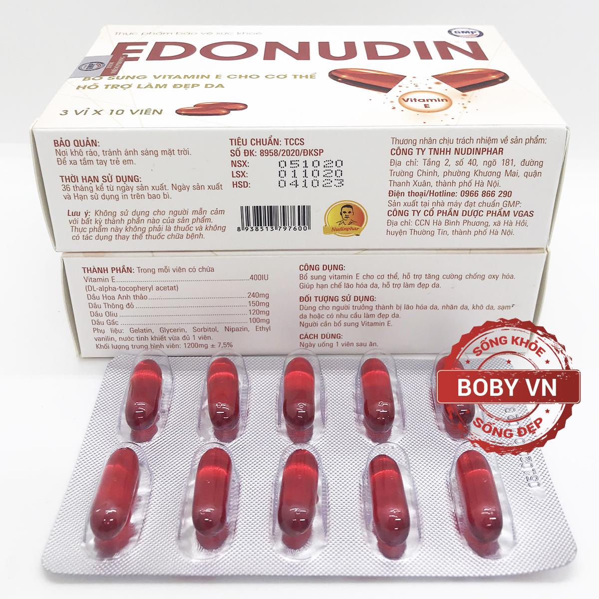 Vitamin e đỏ Edonudin hạn chế lão hóa, hỗ trợ làm đẹp da - (Hộp 3 vỉ x 10 viên)